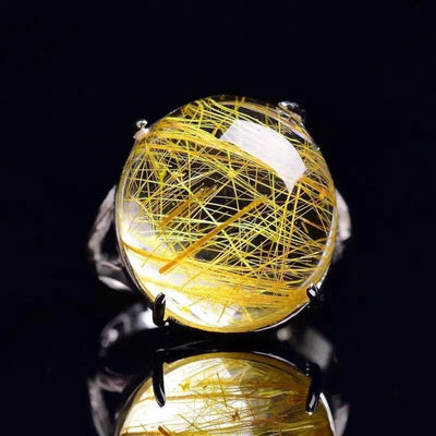 Mens  Rings  with Rutilated Quartz Scalable