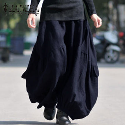 ZANZEA 2018 Fashion Women Autumn Harem Pants Cotton Linen Cross-pants High Elastic Waist Pantaloon Baggy Long Trousers Plus Size