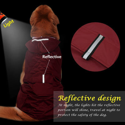 Large Dog Raincoat Waterproof  Reflective Safety Hooded
