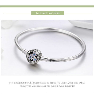 Charm Bracelet Sterling Silver Flower and Luminous Moon for Women