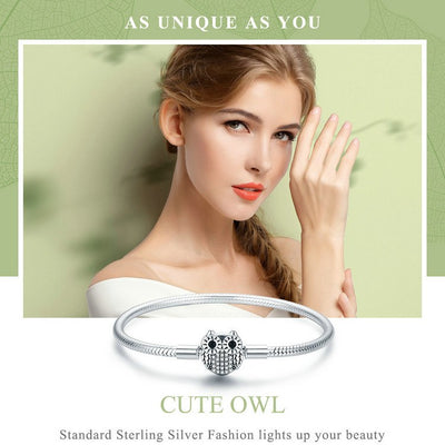Charm Bracelet Sterling Silver Owl Clasp for Women