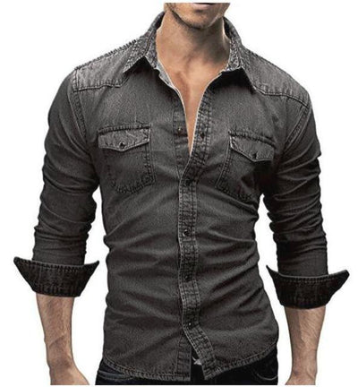 Denim Shirt Men  Long Sleeve