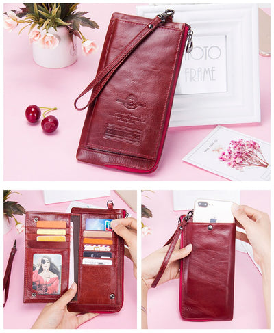Genuine Leather Wallets for Woman  Long Clutch