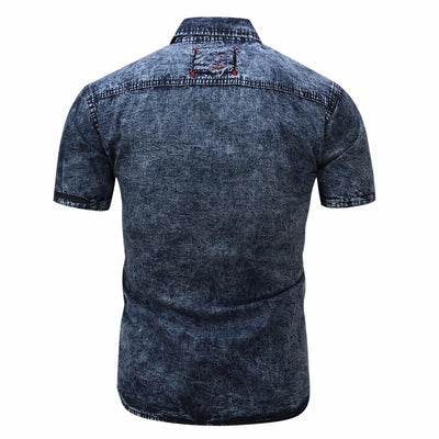 Denim Shirt Men Short Sleeve