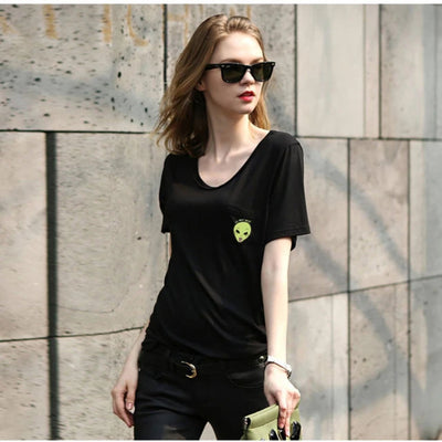 T Shirts for Women Casual Pocket Printed Cat