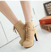 Boots For Women Lace Up High Heels Boots