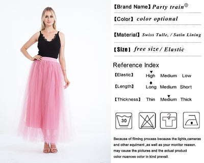 Maxi Skirt Long 4 Layers Mesh Pleated