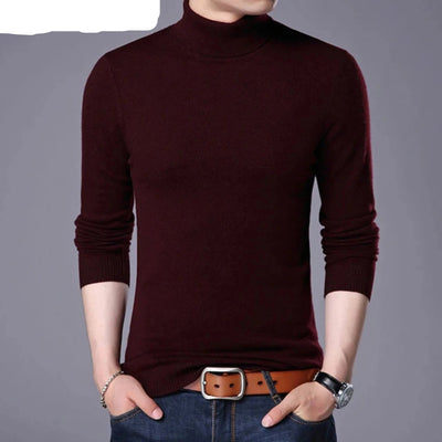 Wool Sweater for Men Casual Classic Turtleneck