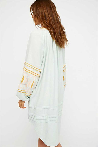 Blouses for Women Lantern Sleeve Embroidered Tassel