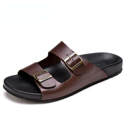 Mens  Leather  Slipper Solid