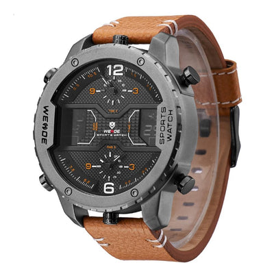Sports Watches for Men Stainless Steel Leather Band
