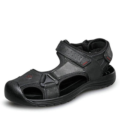 Mens Leather Sandals  Ankle-Wrap