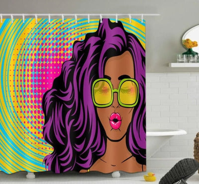 Shower Curtains African Woman Printed New Colorful Eco-friendly with Hooks