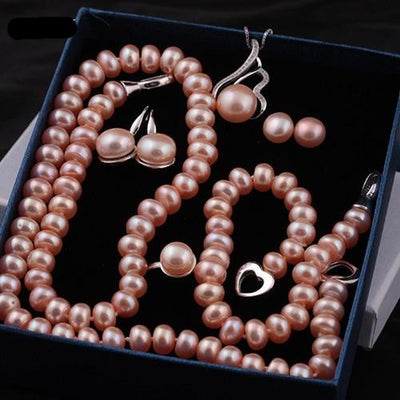 Pearl  Jewelry  for Woman  6 Items Set Necklaces Bracelet Ring Earrings with Silver Clasp