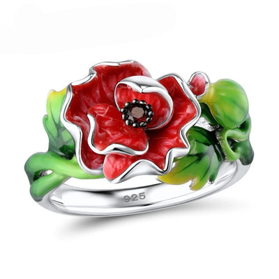 Sterling Silver Rings for Women  Red Flower Shiny