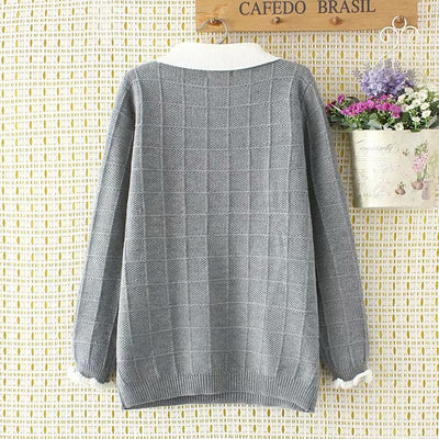 COTTON Wool Plaid Knitted Sweater for Women Plus Size  Long Sleeves