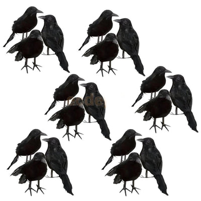 Halloween Decoration Black Feathered Small Crows 18 pieces Set