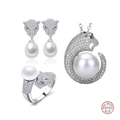 Pearl Leopard  Jewelry with  Sterling Silver Clasp  for Woman  Earrings  Ring Necklace Set