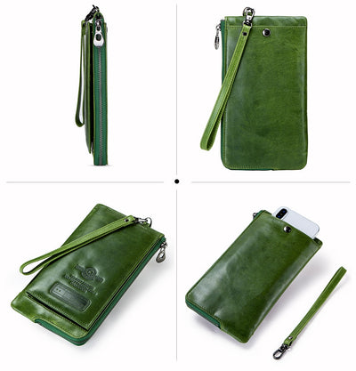 Long Wallets for Women Genuine Leather Zipper Strap