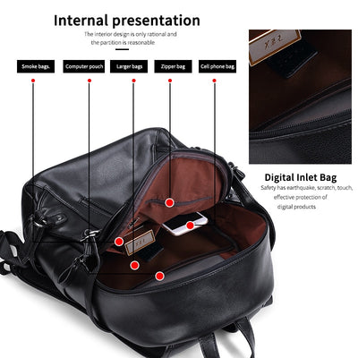 Leather Backpack for Men Set External USB Charging Waterproof