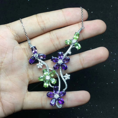 Sterling Silver Necklace with  Natural Peridot & Amethyst Gemstone Flower Pendant