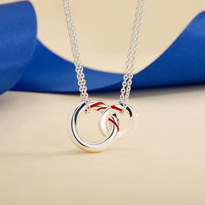 Sterling Silver  Necklace with Double Silver Ring Pendant