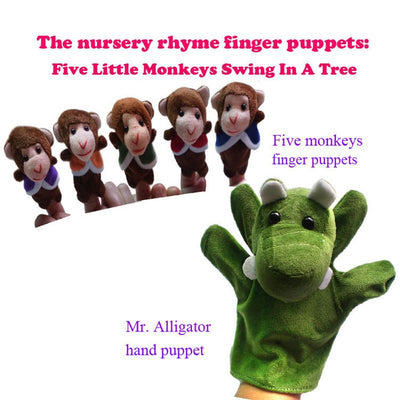 Hand Puppets Five Little Monkeys 6 pcs / set.