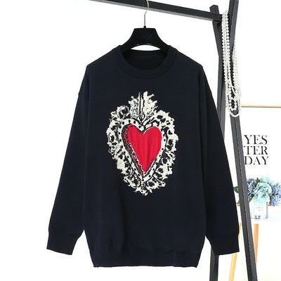 Black  Knitted Sweater for Women Plus Size  Pullover Heart Cute