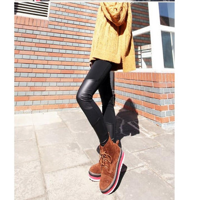 Black Pants for Women Plus Size  PU Leather Stich Patchwork