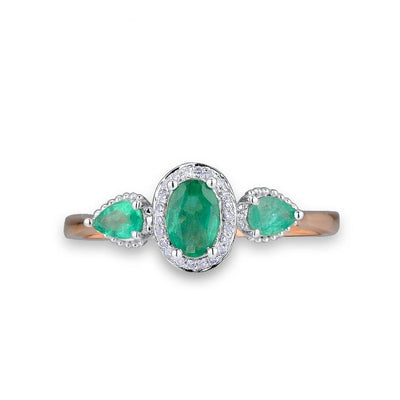Gold Rings for Women with Emerald Sparkling Diamond