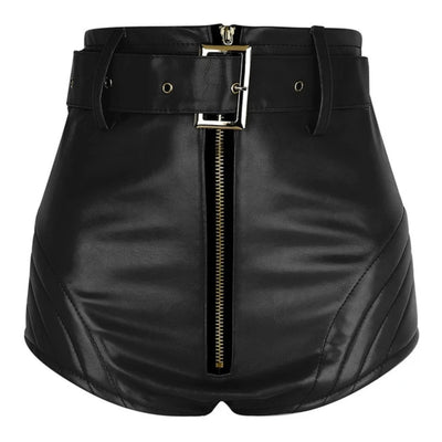 Leather Shorts Women with Belt Front Zipper High Waisted