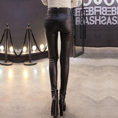 Leather Pants for Women  Plus Size  High Waist  Stretch Skinny