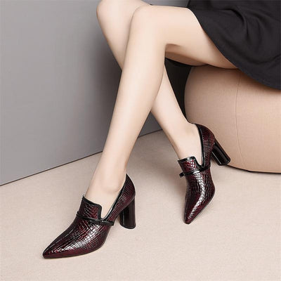"Genuine Leather High Heels  Shoes 3""  Pointed Toe"