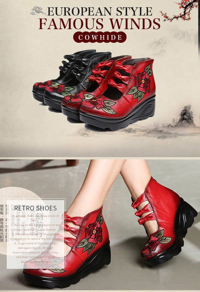 Genuine Leather  Platform Shoes for Women Fashion Embroidered  Vintage Waterproof