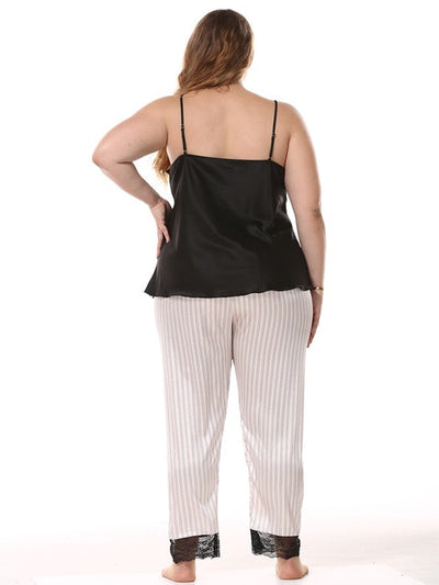 Sexy Pajamas for Women 2 Pcs Set  Vest+Long Pants   Plus Size