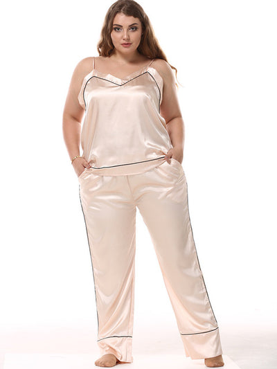 Sexy Pajamas for Women 2 Pcs Set Sleepwear Suit Plus Size