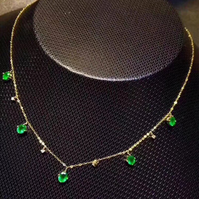 Sterling Silver Necklace with   Natural Zambia Emerald  5 pcs.