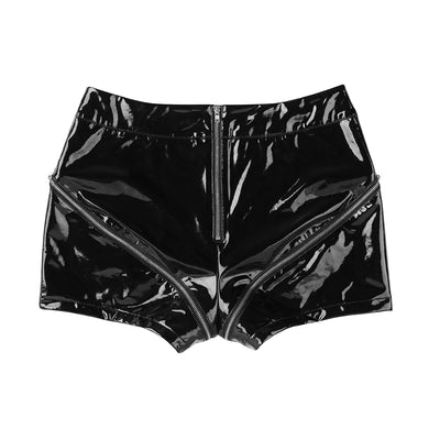 Skinny Black Leather Shorts Women Wet Look