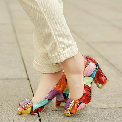 "Genuine Leather High Heel Shoes 3""  Fashion Mixed Colors"