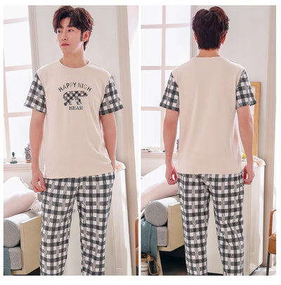 Cotton Pajamas for Men  2 Pieces Set Short Sleeve Long Pants   Plus Size