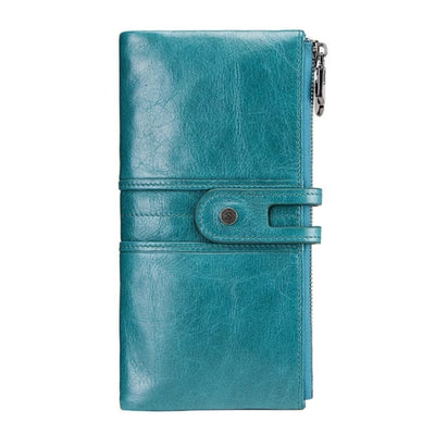 Long Wallets for Women Cowhide Leather