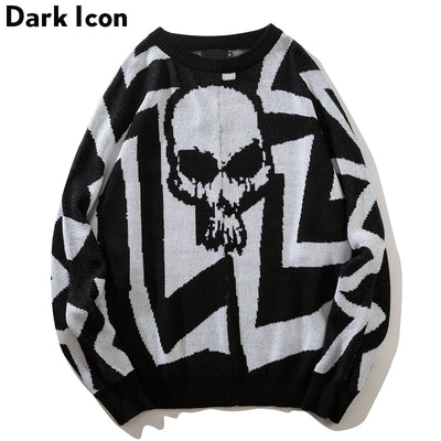 Cotton Knitted Sweaters for Men Batwing Sleeve  Style Skull