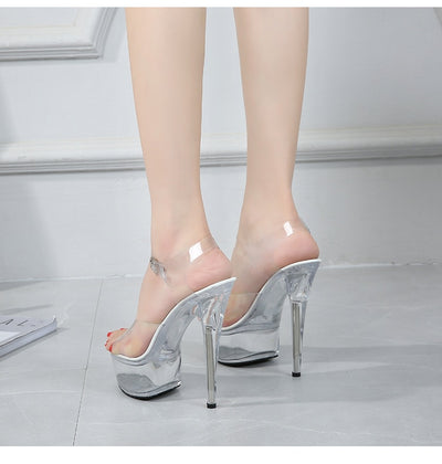 "Crystal Transparent High Heel Shoes 6"" Model T Station Catwalk"