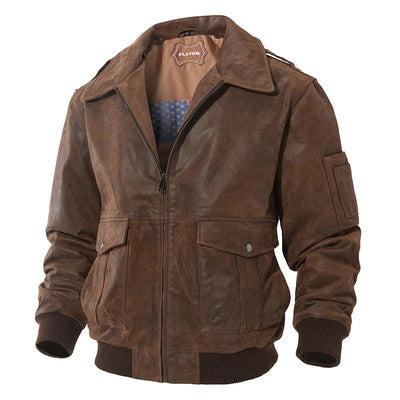 Genuine Leather  Jacket Mens  Removable Fur Collar