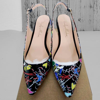 "PU Leather High Heel Shoes 2.6"" Pointed Toe Slingback"