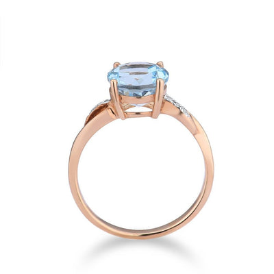 Gold Ring for Women with Sparkling  Sky Blue Topaz Diamond