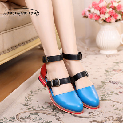 Womens Sandals for Summer  Genuine Leather Wedges Vintage Platform