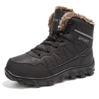 Mens Ankle Genuine Leather  Boots  Waterproof  Plus Fur Snow Boots