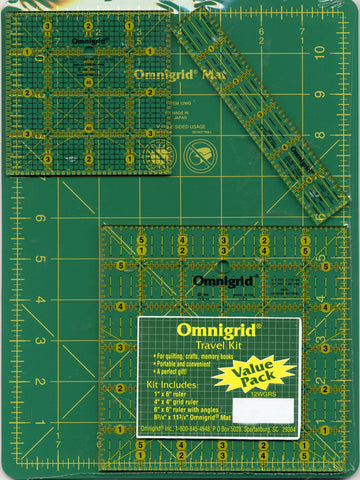 Omnigrid Travel Kit 12WGRS Mat With OG6A, OG4G & OG1 Rulers