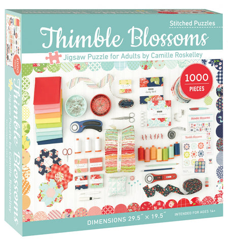 "Thimble Blossoms Jigsaw Puzzle for Adults by Camille Roskelley 1000 pieces, 29.5"" x 19.5"""